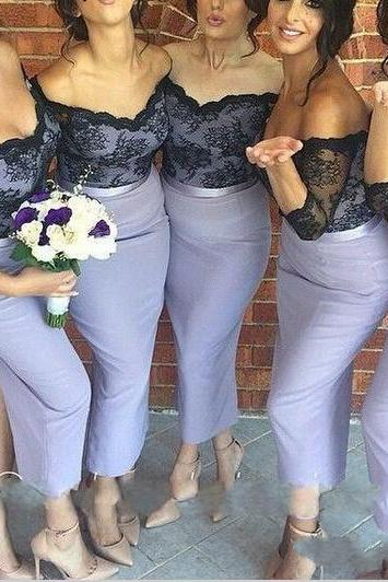 Off-shoulder Half Sleeves Lavender Tea Length Bridesmaid Dress with Black Lace Motify on the Bodice