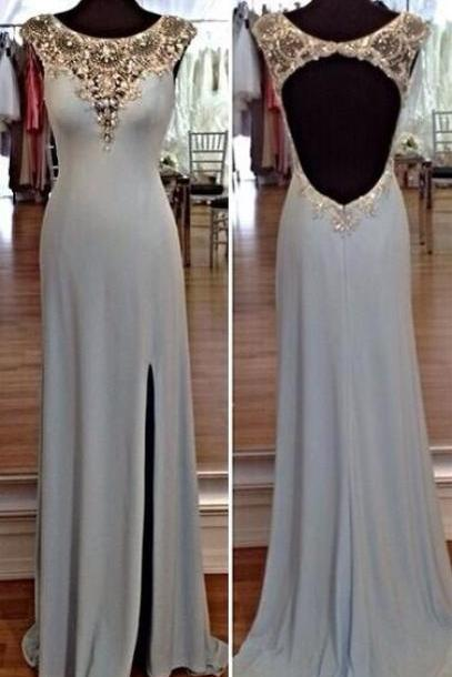 Scoop Neckline Open Back Floor Length Prom Dress with Side Slit