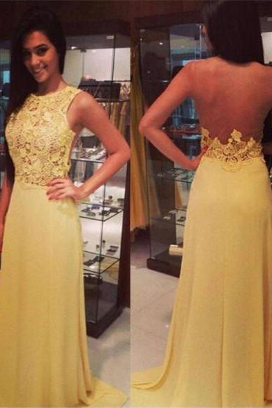 Sheer Back Yellow Formal Occasion Dress Prom Dress