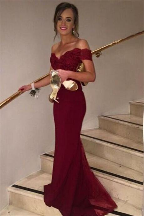 Wine Red Off-shoulder Mermaid/Trumpet Formal Occasion Dress Evening Gown