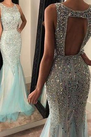 Jewel Neckline Fully Beaded Fit to Flare Party Dress Prom Dress Evening Gown