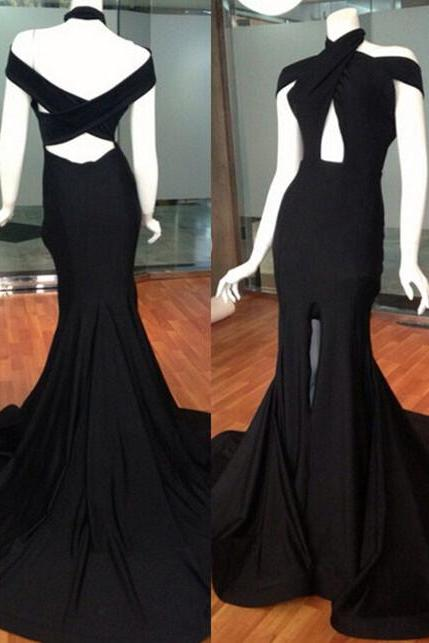 Halter Black Fit to Flare Maxi Fasion Dress