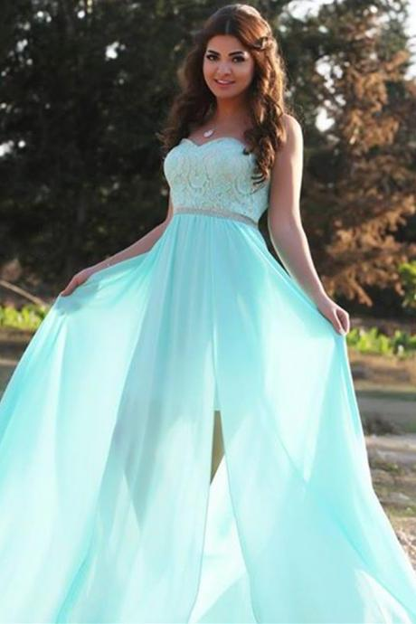 Prom Dress Light Curve Sweetheart Floor Length Mint Evening Dress with Side Slits