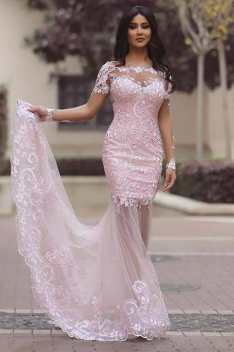 Sheer Back White Long Sleeves Lace Prom Dresses