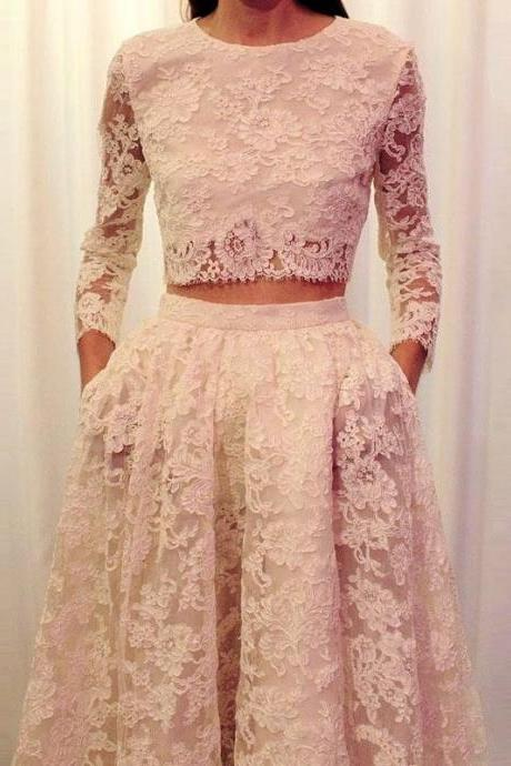 Jewel Neck Full Sleeves 2 Pieces Lace Prom Dress with Pockets