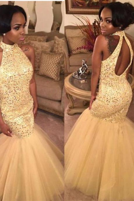 Champagne Halter Mermaid Ball Gown Prom Dress with Keyhole Back
