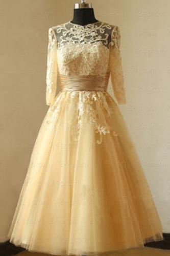 3/4 Long Sleeves Tea Length Lace and Tulle Prom Dress with Cummerband Semi Formal Occasion Dress