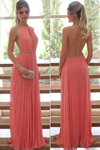 Halter Prom Dress, Pleated Prom Dress, Backless Prom Dress
