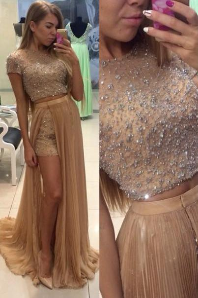Gorgeous 2 Pieces Prom Dress with Beadings and Sequins