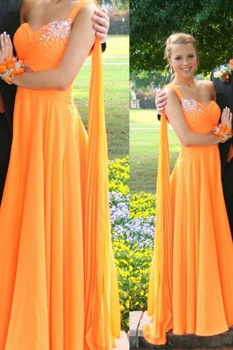 One Shoulder Sweetheart Floor Length Prom Dress with Rhinestones and Beadings