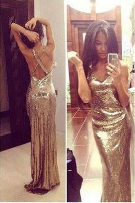 Open Back Light Gold Sequin Prom Dress