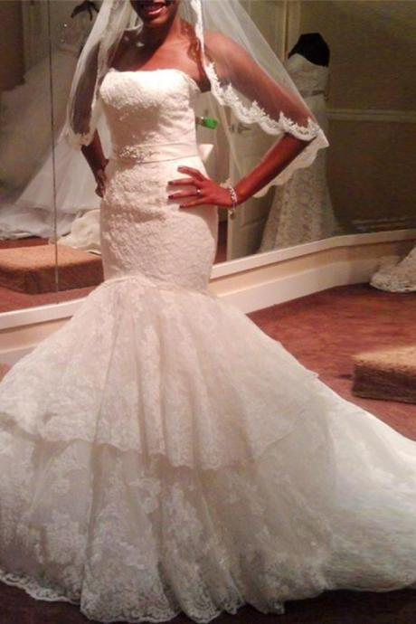 Mermaid Wedding Dress Strapless Lace Bridal Dress with Double Tiered Skirt with Removable Beaded Sash
