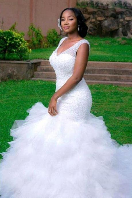 Wedding Dress Fully Beaded Tulle Mermaid Bridal Dress