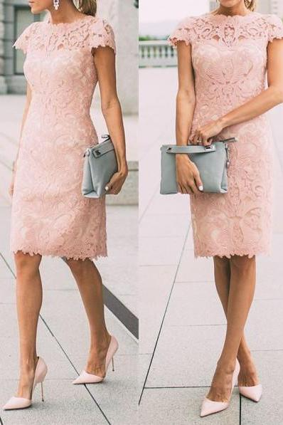 Pretty Spring Fall Outfits Pink Short Lace Street Dress Casual Dress