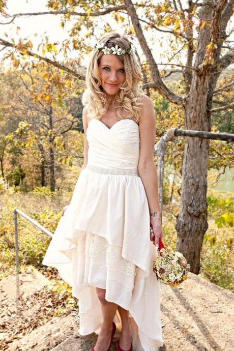 High Low Wedding Dress with Removable Beaded Sash