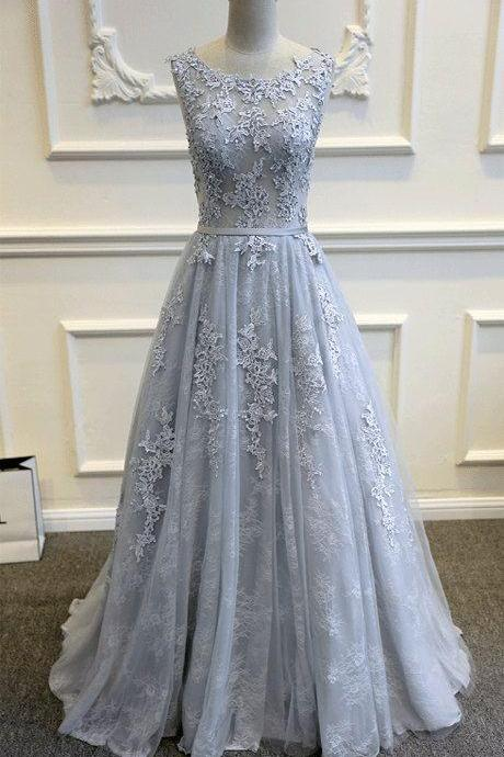 Grey Tulle Wedding Dress with Lace