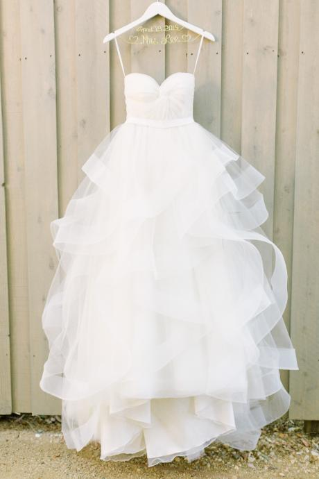 Spaghetti Strap Sweetheart A-Line Wedding Dress with Ruffles Horsehair Hemline
