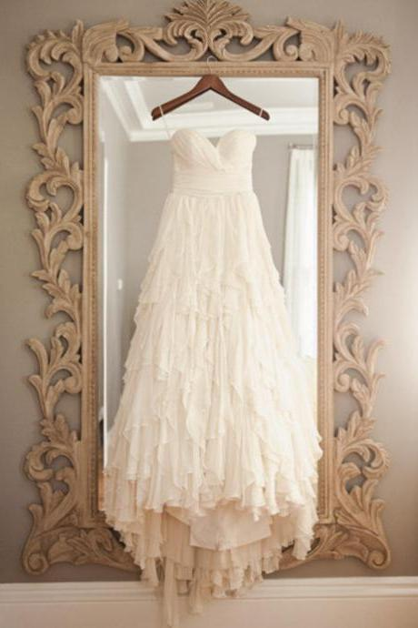 Tiered Chiffon WeddinG Dress with Removable Ribbon Sash