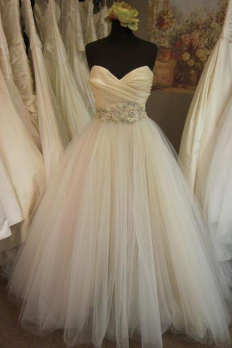 A-line/Princess Pleated Bodice Blush Wedding Dress with Embellished Waist