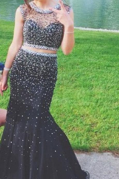 Illusion Neckline Black 2 Pieces Prom Dress with Beading