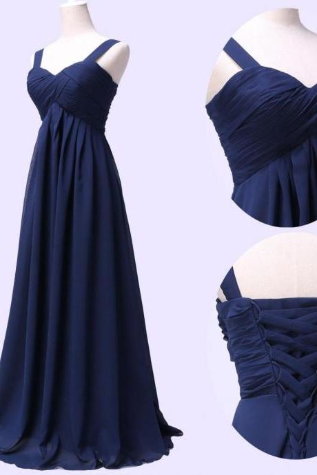 Empire Waist Floor Length Navy Chiffon Bridesmaid Dresses Party Dress