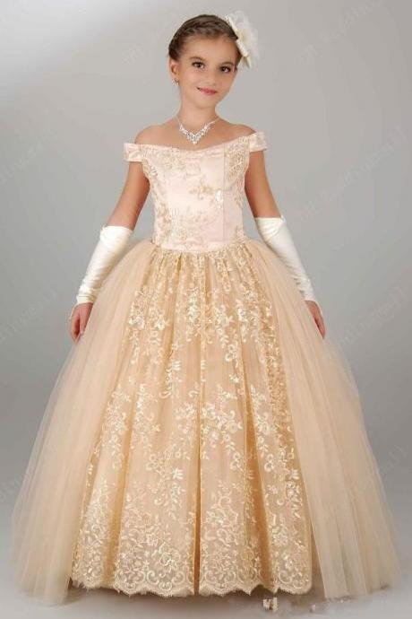 Off the Shoulder Champagne Ball Gown Flower Girl Dress Pageant Dress