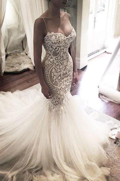 Lace Mermaid Wedding Dress with Spaghetti Straps