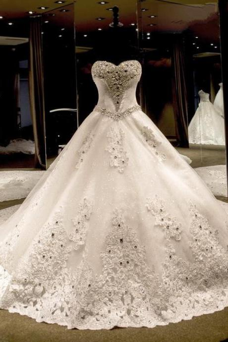 Gorgeous Luxury Beaded Ball Gown Wedding Dresses