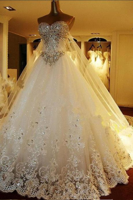 Luxury Cathedral Train Bridal Wedding Dresses