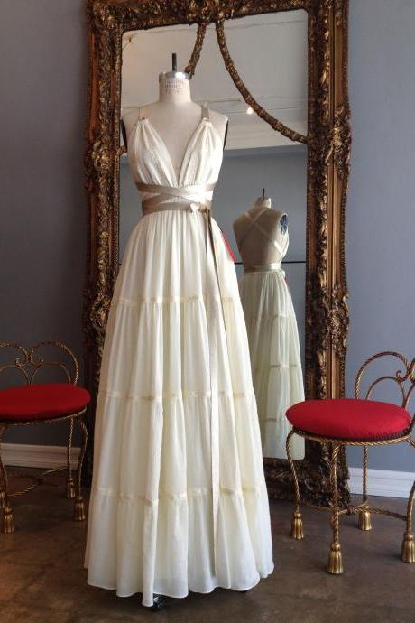 Floor Length Vintage Wedding Dress with Belt