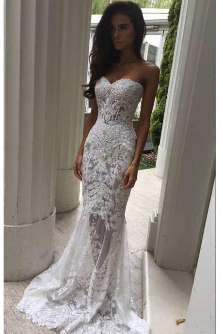 Modern Sweetheart Appliques Lace Mermaid Wedding Dresses