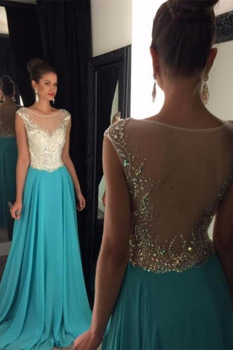 Royal Blue/Turquoise Prom Dress with Sheer Back