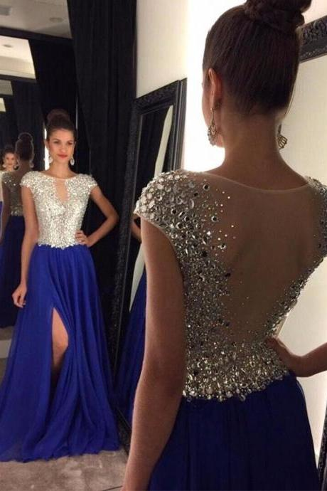 Royal Blue Chiffon Prom Dresses Sheer Back Evening Gowns