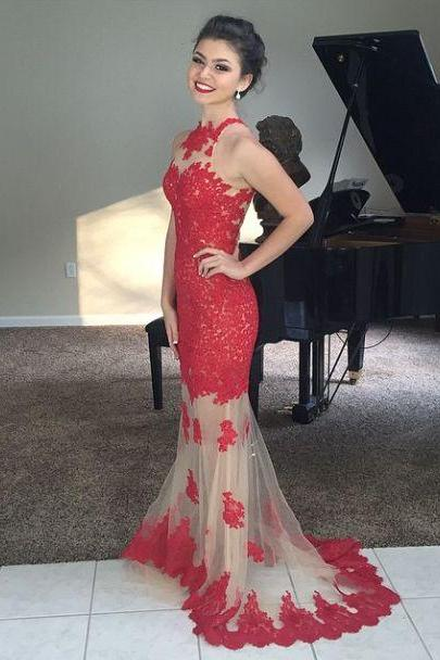 Red Lace Prom Dress Special Occasion Dress