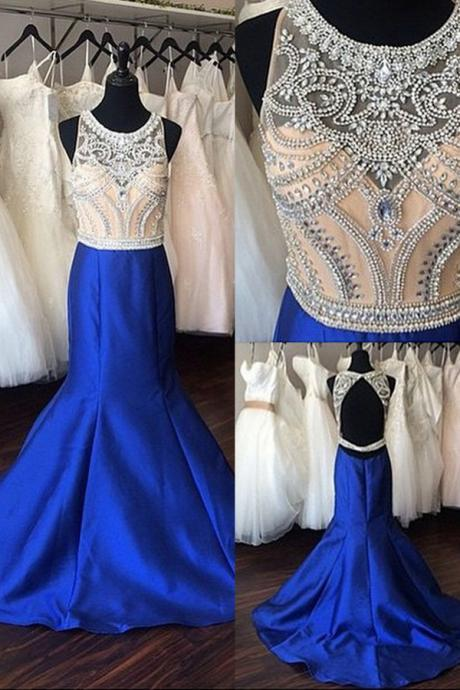 Illusion Neck Royal Blue Mermaid Prom Dress with Beading