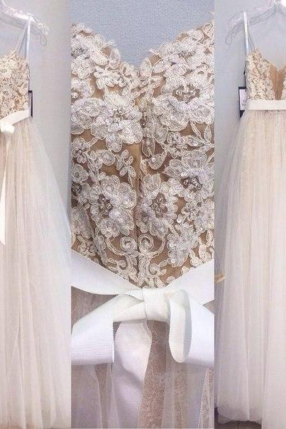 Champagne Spaghetti Strap Lace Appliqués A-line Tulle Wedding Dress with Ribbon Sash