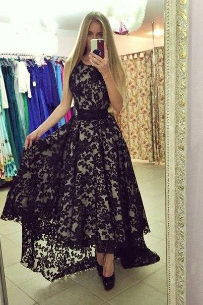 Prom Gown High Low Lace Dress