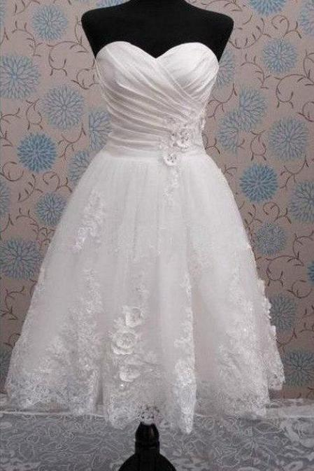 Knee Length Short Bridal Wedding Dress with Handmade Flowers