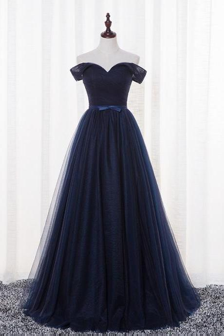 Off the Shoulder Navy Prom Dress Evening Gown