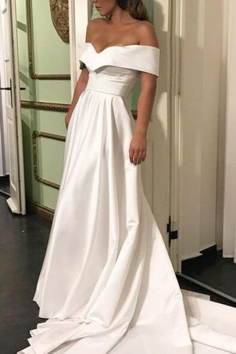 Off the Shoulder Ivory Satin Prom Dress Bridal Gown