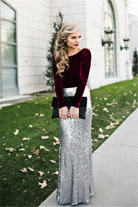 Two-Piece with Velvet Long-Sleeved Top and Sequin Mermaid Skirt, Formal Dress, Prom Dress, Occasion Dress