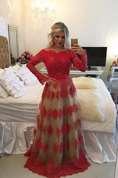 Off the Shoulder Red Prom Dress