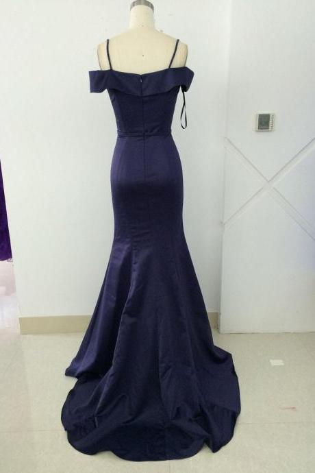 Formal Navy Off the Shoulder Sheath Prom Dress