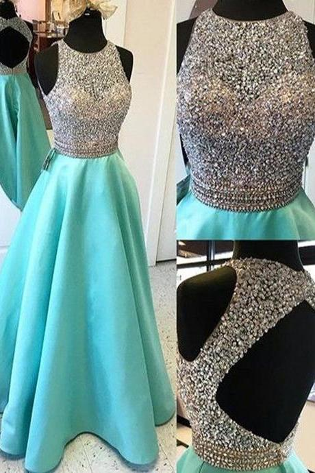 A-line Open Back Beaded Prom Dress