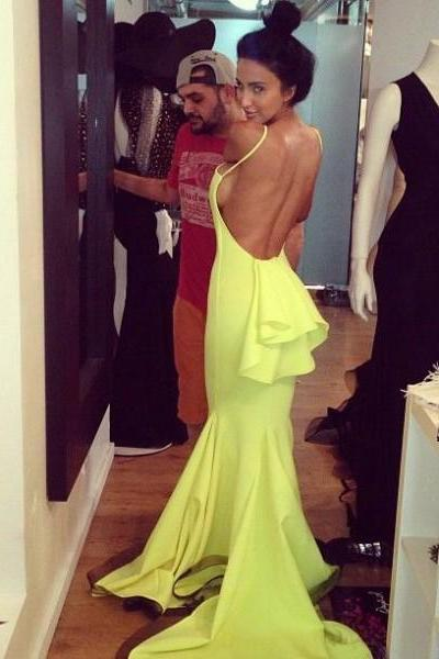 Yellow Backless Mermaid Prom Dress
