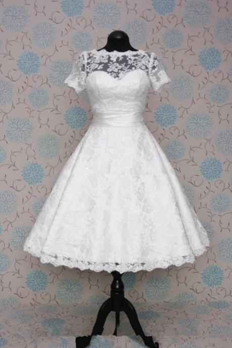 Modest Lace Tea Length Wedding Dress with Short Sleeves