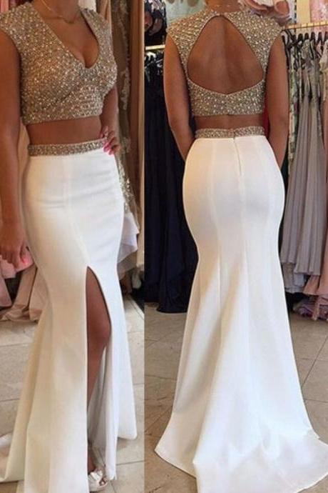 2 Pieces Prom Dress with Side Slit