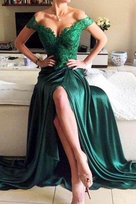 Long Emerald Green Off the Shoulder Prom Dress with Appliques