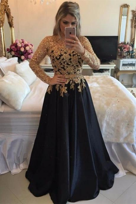 Long Sleeves Black Prom Dress with Gold Beaded Bodice