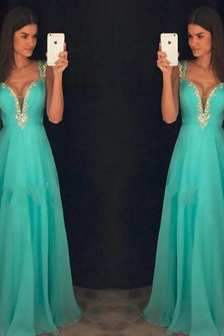 Long Ice Blue Chiffon Prom Dress with Ruch Bodice